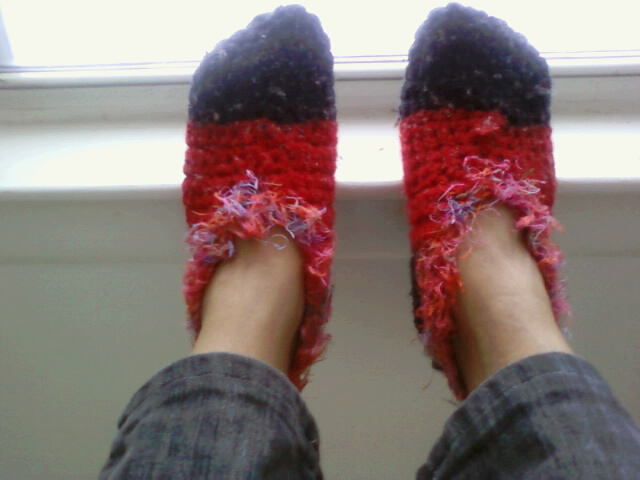 Me in my crochet slippers