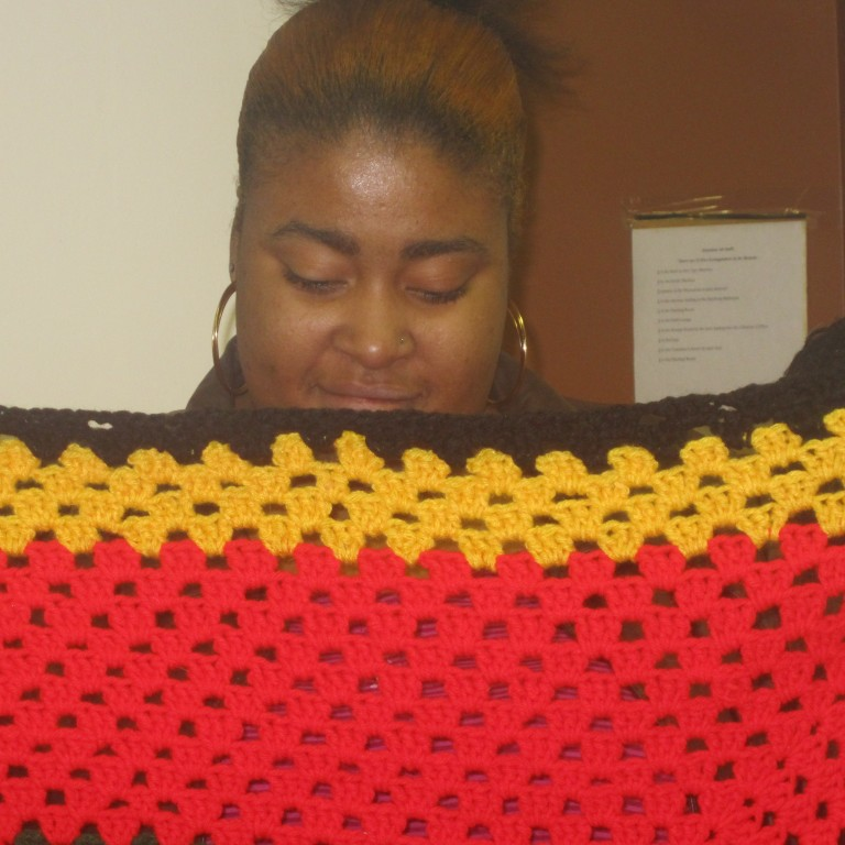 Kimberly and her Granny Square Blanket